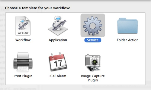 Open Automator and select Service template