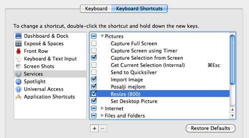 All the Services actions you can find in System Preferences » Keyboard » Keyboard Shortcuts