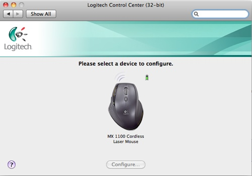 Snow Leopard and MX1100 with Logitech Control Center 3.1